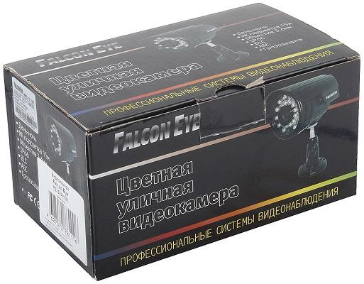 Видеокамера Falcon Eye FE-I80A/15M поставляется в фирменной картонной коробке с описанием на русском языке (нажмите на фото для увеличения)