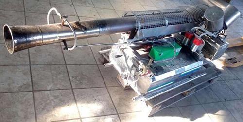 Пример использования генератора горячего аэрозоля на платформе в виде обыкновенного деревянного поддона (нажмите, чтобы увеличить)
