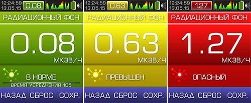 """Показатели радиоактивного фона отображаются на экране дозиметра """"СОЭКС 01М"""" в цветах, соответствующих уровню опасности измеренной радиации для человека (нажмите для увеличения)"""