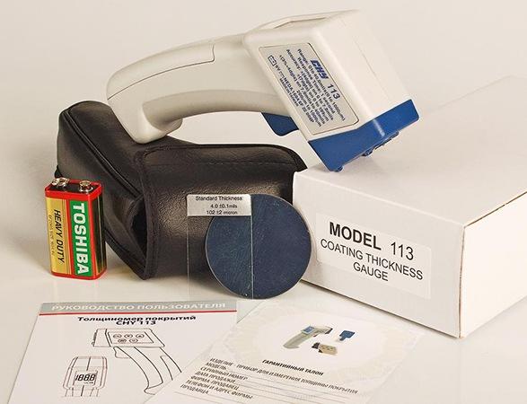 """Толщиномер лакокрасочных покрытий """"CHY-113"""" комплектуется всем необходимым для немедленного начала работы"""