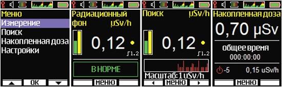 """Внешний вид интерфейса дозиметра """"Соэкс 01М"""" при активации разных режимов"""