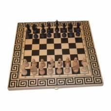 """Шахматный набор игр 3 в 1 """"Древняя Греция"""" из бука"""