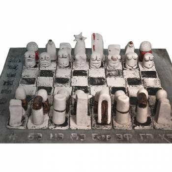 Шахматы Однажды для взрослых из белой шамотной глины