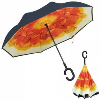 Зонт обратный Up-brella (оранжевый цветок)