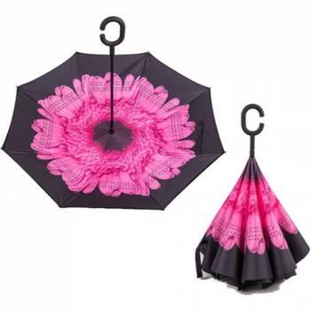Зонт обратный Up-brella (розовый цветок)