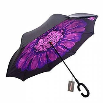 Зонт наоборот Up-brella (фиолетовый цветок)