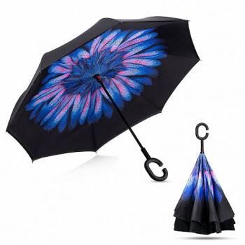 Зонт обратный Up-brella (синий цветок)