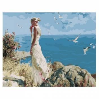 Картина по номерам Девушка на фоне моря размер 40x50 (арт. GX5705)