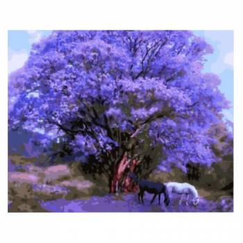 Картина по номерам Две лошади под сиреневым деревом размер 40x50 (арт. GX8784)
