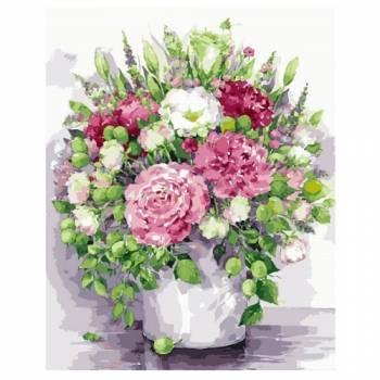 Картина по номерам Яркие пионы с зелеными плодами в белой вазе размер 40x50 (арт. MG2060)