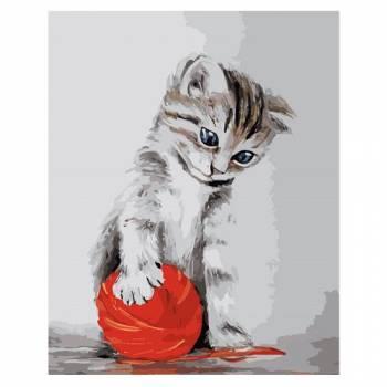 Картина по номерам Котенок с красным клубком размер 40x50 (арт. MG2075)