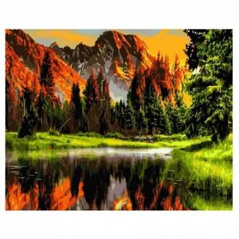 Картина по номерам Пылающий закат в горах размер 40x50 (арт. GX3348)