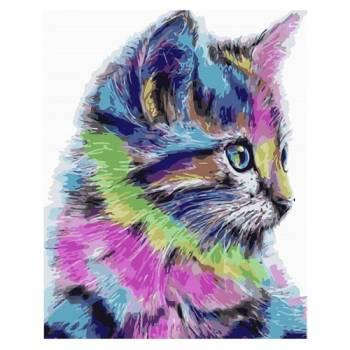 Картина по номерам Разноцветная кошка размер 40x50 (арт. MG2077)