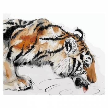 Картина по номерам Тигр на водопое размер 30x40 (арт. ME1067)