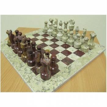 Шахматы Яшма + Яшма 30х30 см, каменные