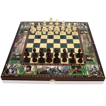 Набор игр 3в1 Бородино 50x50 см, деревянные (шахматы, нарды, шашки)