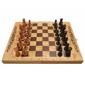 Набор игр 3в1 дуб (шахматы, нарды, шашки) средние