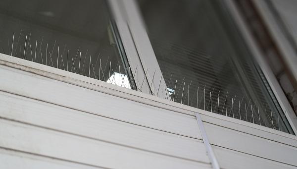 После установки шипы остаются малозаметными — при монтаже на балкон второго-третьего этажа их практически невозможно заметить с земли (нажмите на фото для увеличения)